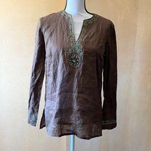 New Sz 6 Rafaella Brown/Green Stitch Linen Tunic